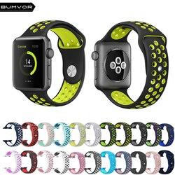 NK6 Esporte Pulseira de Silicone buraco Respirável Cinta Substituição para Apple série relógio 1 2 3 4 Cinta 40/44 MM 38/42 MM Pulseira