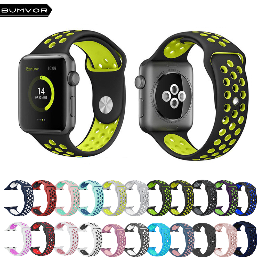 NK6 Sport Silicone Watchband  Breathable hole  Replacement Strap for Apple watch series 1 2 3 4 Strap 40/44MM 38/42MM Bracelet