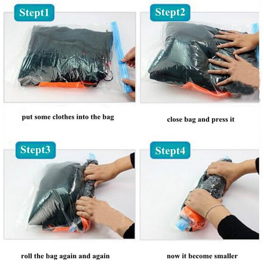 2pieces Lot Vacuum Compression Bags Traveling Pouch Clothes Holding Special Sealed Bag Storage In From Home Garden On