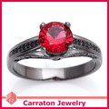 Carraton RSQD1082 Red Cystal Black Plated Genuine 925 Sterling Silver Ring