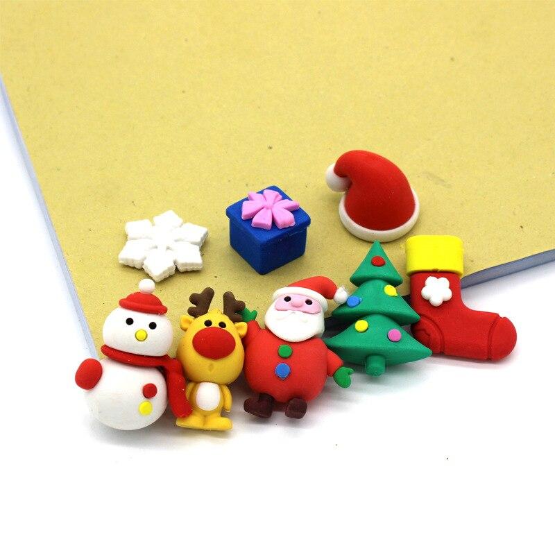 1 Set Cute Kawaii Snowman Santa Claus Christmas Tree Rubber Eraser Set School Office Erase Supplies Kids Gifts