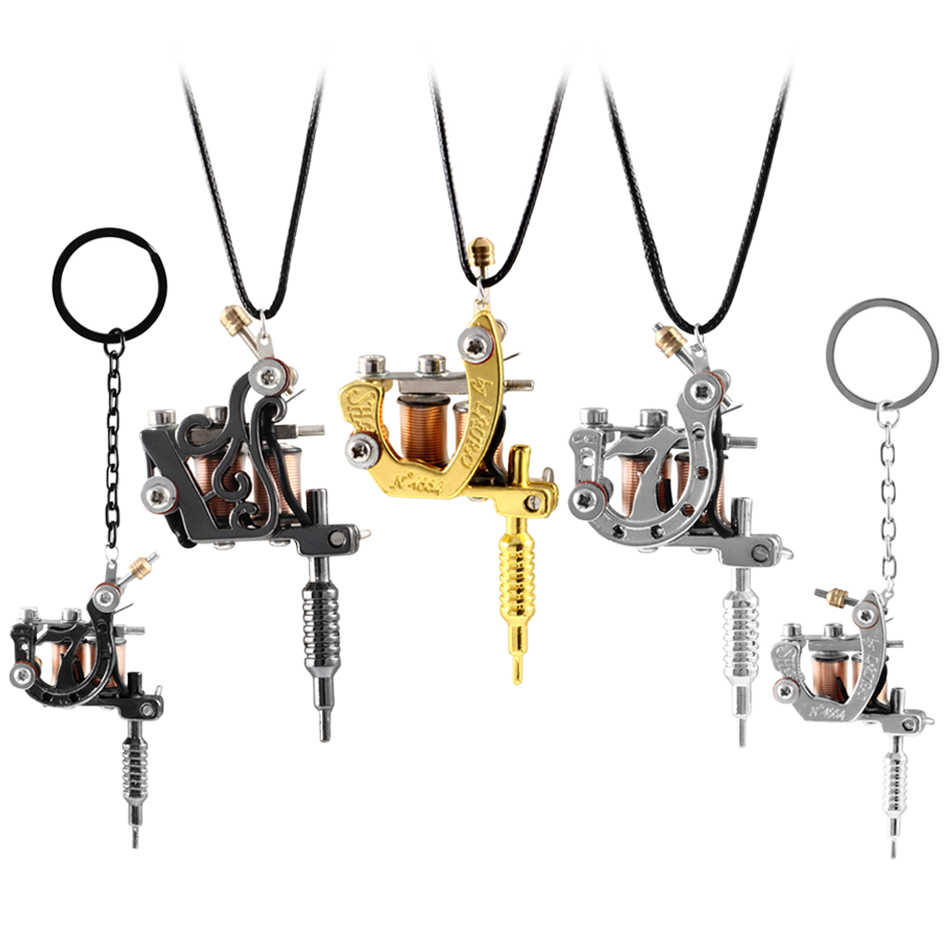 "1PC Mini Tattoo Machine Necklace And Key Chain Jewelry Punk Pendant KeyChain For Men & Women leather Necklace 45cm(17-3/4"")"
