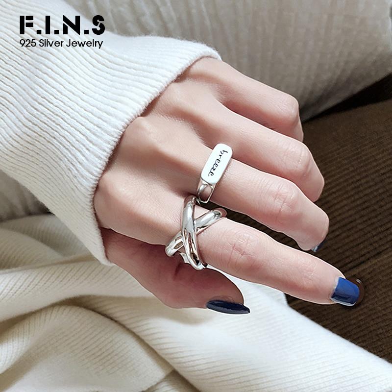F.I.N.S Dupla Camada X-Em Forma de Anel de Prata 925 Anéis Abertos Para As Mulheres 2019 Novo Reak 925 Sterling Silver Big anéis para Decoração
