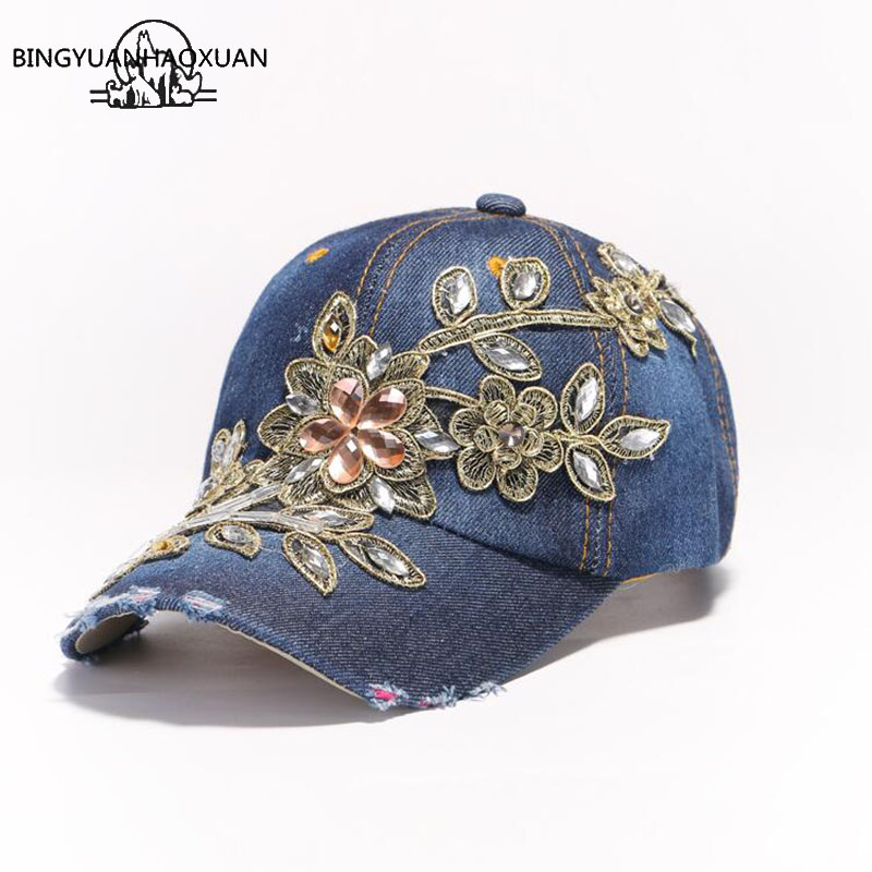 BINGYUANHAOXUAN Vintage Luxury Rhinestones Woman Cowboy Baseball Cap Flower Pattern Gorras Female High Quality Glass Diamond Hat