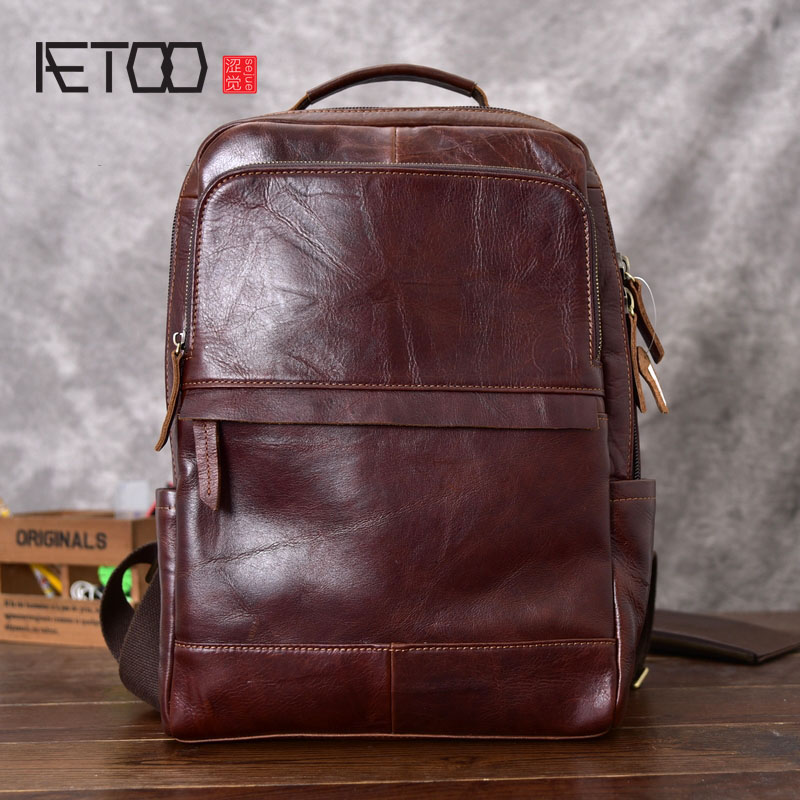 AETOO Genuine Leather Backpack Women Fashion School Bag for Teenagers Casual Rucksacks Men Leather Laptop Brand Mochila Bags