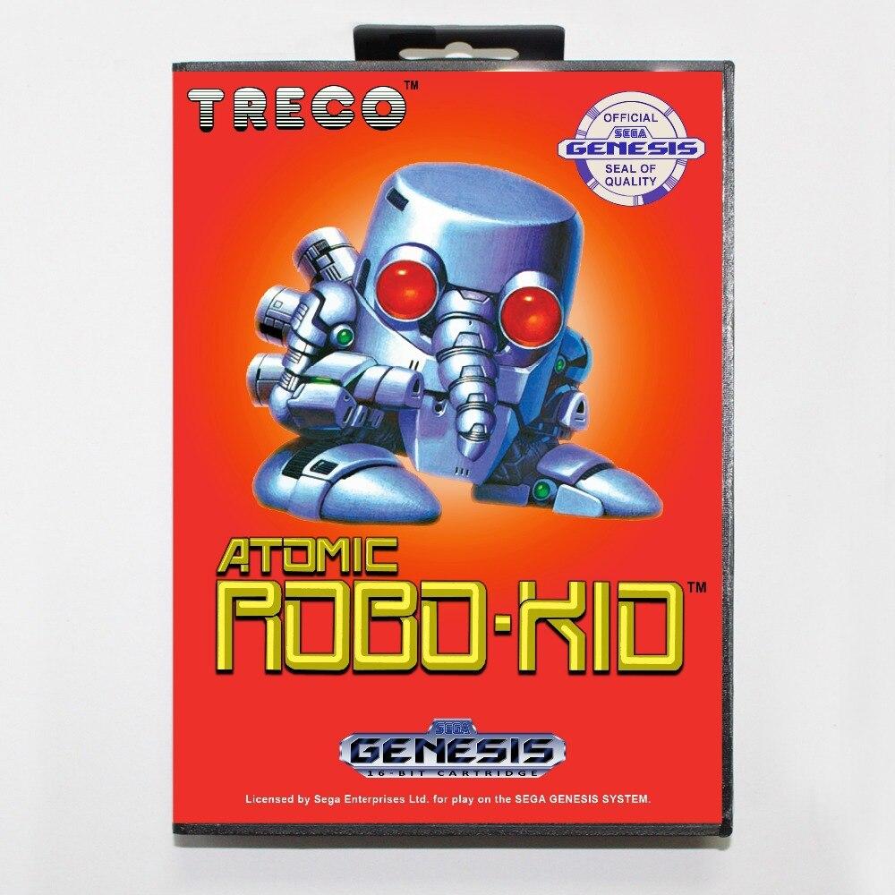 16 bit Sega MD game Cartridge with Retail box - Atomic Robo-Kid game card for Megadrive Genesis system