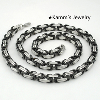 Free Shipping 25inch Long Mens Jewelry Chains Silver Stainless Steel Chunky Necklace Lobster Clasp Byzantine Box