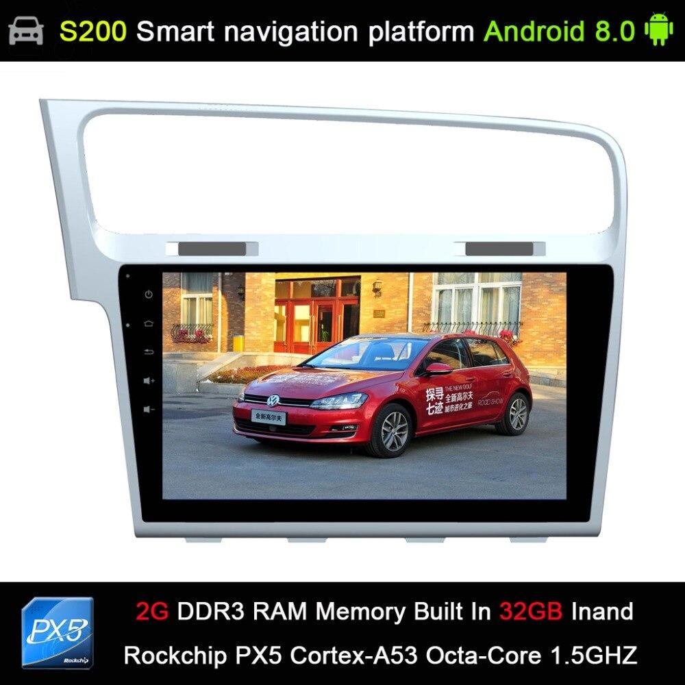 Système Android 8.0 PX5 Octa 8 cœurs CPU 2G Ram 32 GB Rom voiture DVD Radio GPS Navigation pour Volkswagen VW GOLF 7 Golf7 2013-2015