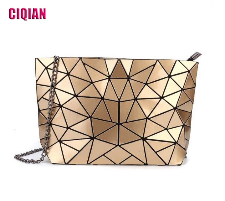 HOT Women's Geometric Handbag Chain Shoulder messenger bags Irregular triangles Folding over bag for Female Free Shipping geometric pattern irregular front fly cardigan