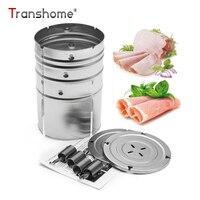 Transhome 1 ST Rvs Ronde Vorm Ham Druk Maker Machine Zeevruchten Vlees Gevogelte Gereedschap Voor Familie Ham Keuken Accessoires