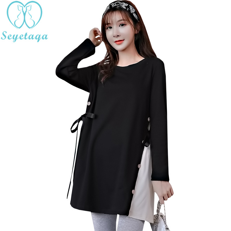 803# 2018 Autumn Korean Fashion Maternity Shirts A Line Loose Side Splits Clothes for Pregnant Women Long Sleeve Pregnancy Tops fashion cotton padded maternity shirts autumn winter fashion thick knitted long sleeve pregnancy tops loose maternity clothes