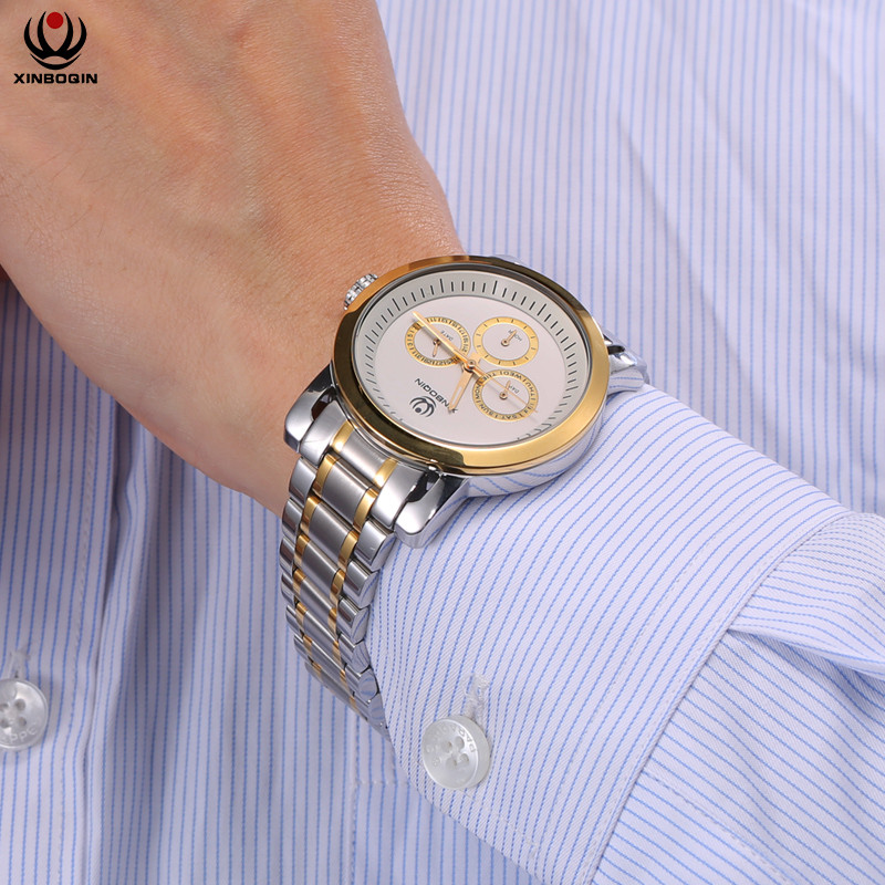 лучшая цена XINBOQIN Men Business Watches Simple Stainless Steel Strap Wrist Watch Water Resistant Luxury Top Brand Quartz Wristwatches 3054
