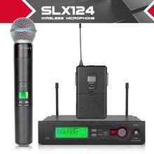 UHF PRO Беспроводная Микрофонная Система + Ручной + Нагрудные + гарнитура Mic SLX124/SLX1/BETA58 для Этапа Караоке DJ