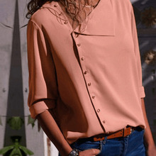 New Arrival Women Shirt Irregular Neck Single-breasted Long Sleeves Minimalist Casual Autumn Tops