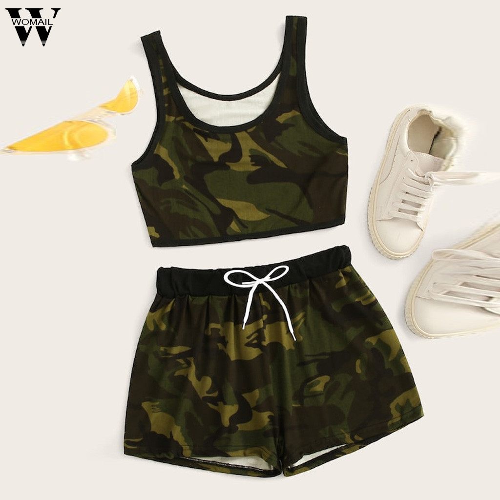 Womail Tracksuit Women NEW Summer 2PCS Sleeveless Solid Tank Top Shorts Sport Drawstring Waist Set Fashion 2019 Dropship A15