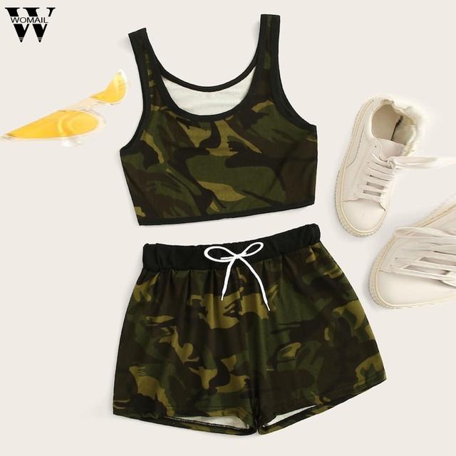 Womail tracksuit Women NEW summer 2PCS Sleeveless Solid Tank Top Shorts sport Drawstring Waist Set fashion 2019  A15
