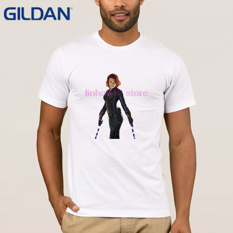 Gildan Knitted Natural Tee Shirt Black Widow Movie T Shirt For Men Clothing Summer Men T-Shirt Comfortable Hot Sale