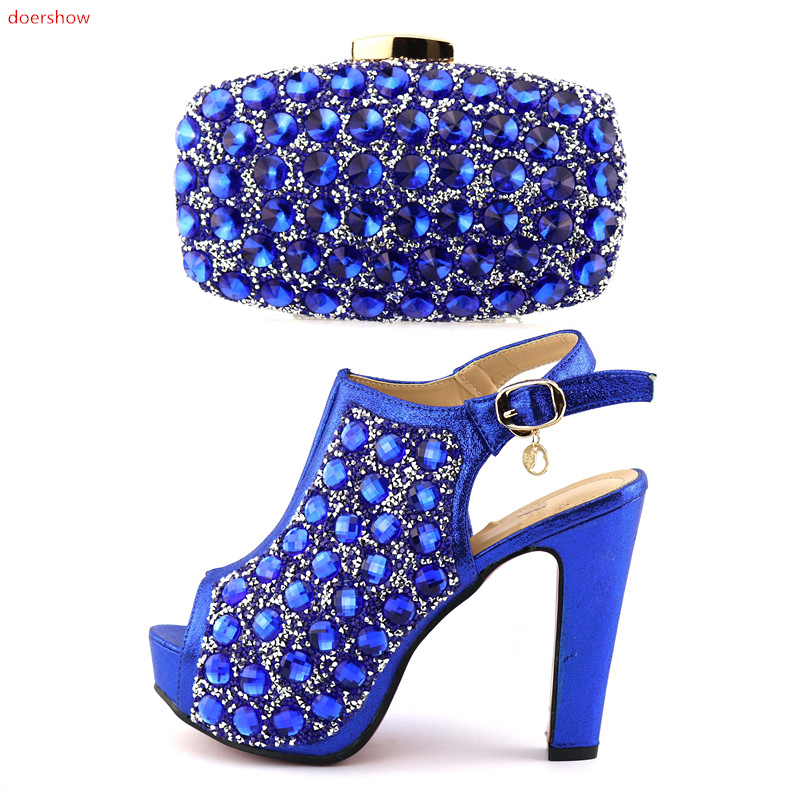 doershow New Arrival African Shoes And Bag Set Italy High Heels Italian Design Shoes With Matching Bag For party HQQ1-22 silver color italian shoes with matching bag high quality italy shoe and bag set for wedding and party high heels shoes me1102