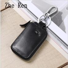 Multi-function smart anti-theft leather zipper fashion key bag
