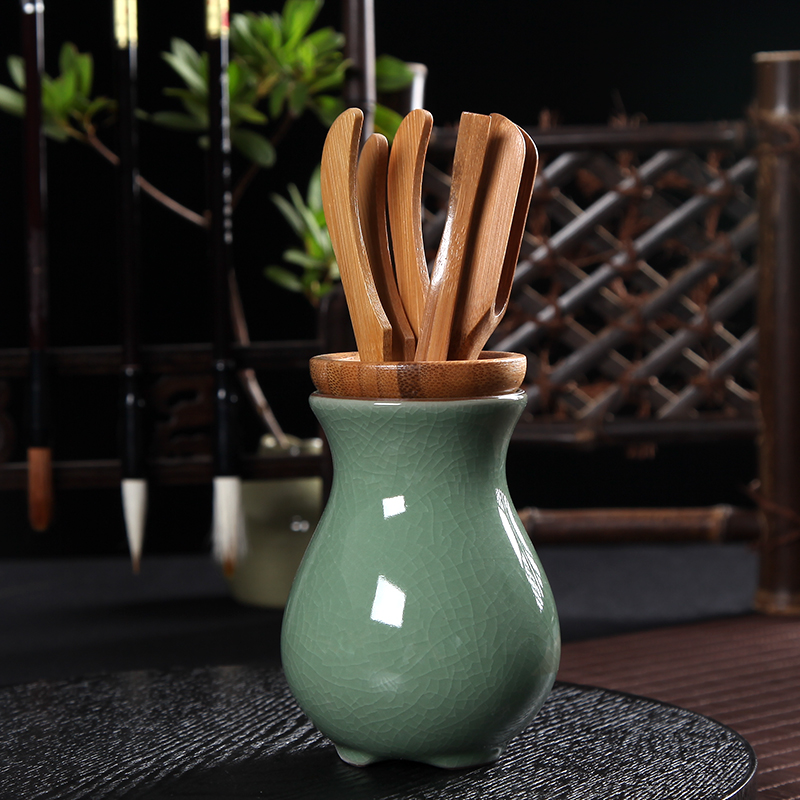 PINNY Chinese Ceramic Bamboo Tea Accessories 6Pcs set Tea Tools For Tea Ceremony Kung Fu Teaset Natural Bamboo Spoon in Tea Scoops from Home Garden