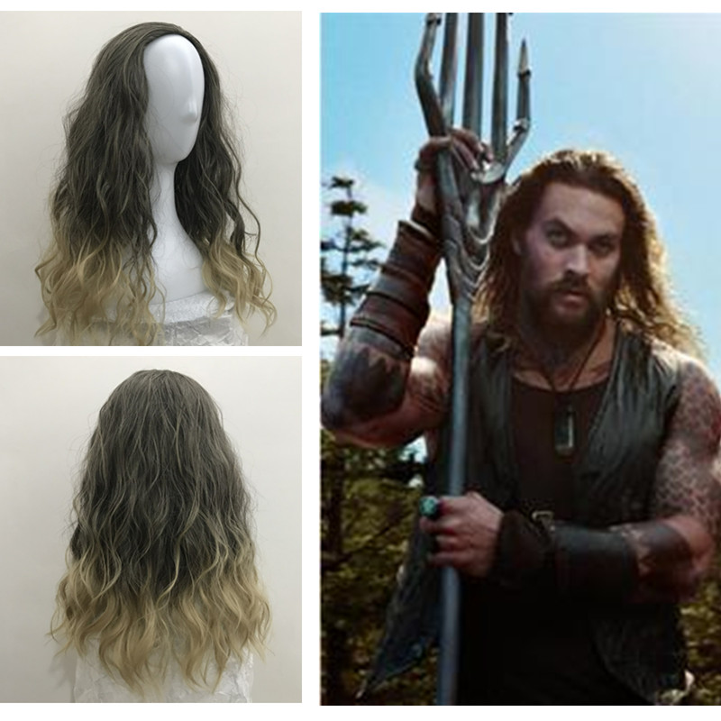 Justice League Anime Movie Aquaman Arthur Curry / Orin Cosplay Wig Women Men Long Brown Mix Roll Fluffy Hair Role Play Wig New