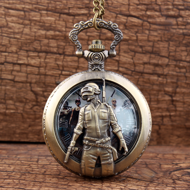 PLAYERUNKNOWN BATTLEGROUNDS The USSR Military Sniper Pocket Watch For Children Casket Watches For Men Women Fob Chain Male Clock