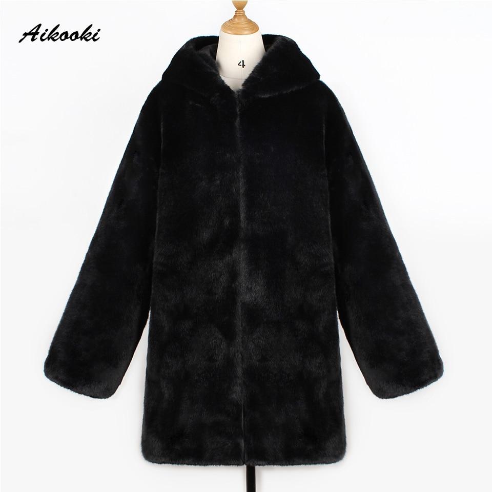 À Manteaux Aikook Haut De Faux Gamme Chaud Noire Dames Capuche Fourrure Femmes Black Sweat Longues Outwear Imitation Hiver Épais CHqpC8w4f