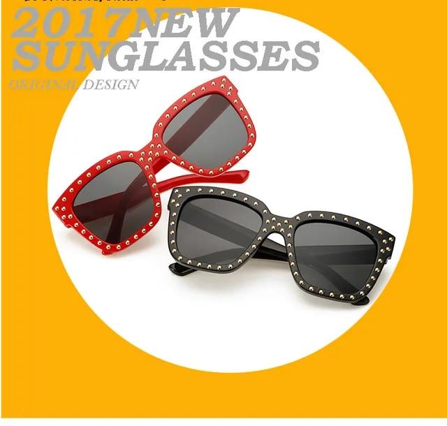 2019 New Square Rivet Fashion Luxury Sunglasses Mirror Women Men Brand Designer Lady Female Sun glasses UV400