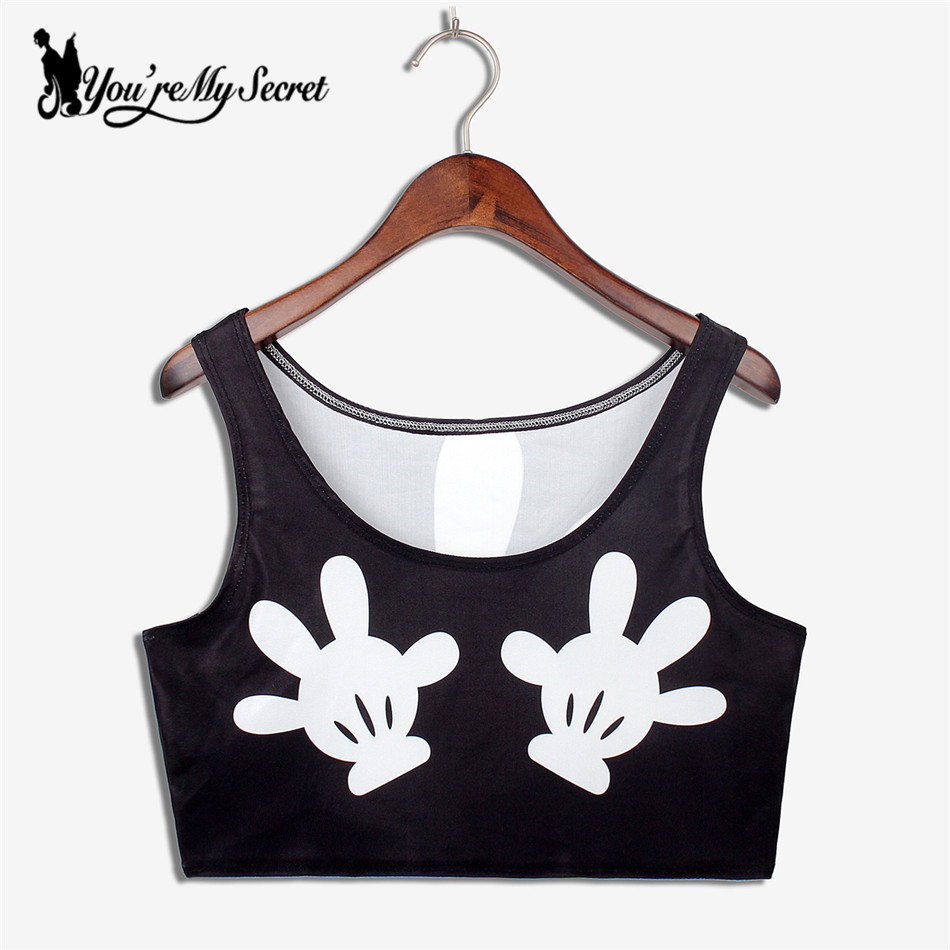 [Youre My Secret] 2017 Fashion Summer Female Cropped Hands Print Crop Tops Sexy Sleveless Top Camisole Kawaii DBX1022