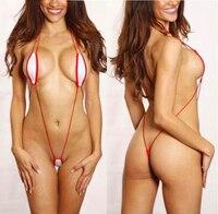 Сексуальный белый красный проводные рогатки Монокини микро стринги бикини стринги красный шнур Строка пляжные sunkini Biquinis