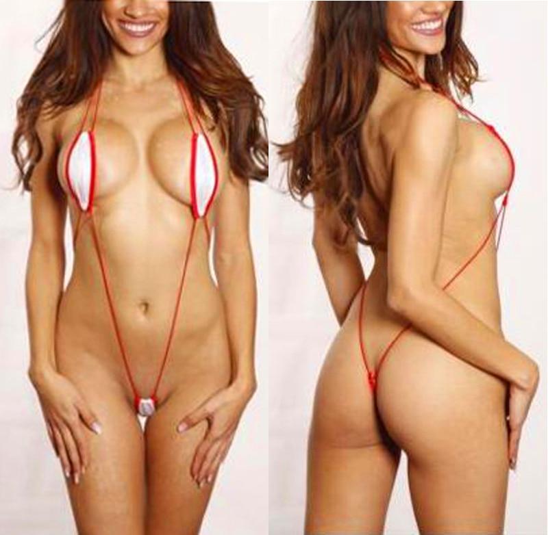 Sexy White Red Corded Slingshot Monokini Micro Thong Bikini Thong G String Red Cord String Beach Sunkini Biquinis
