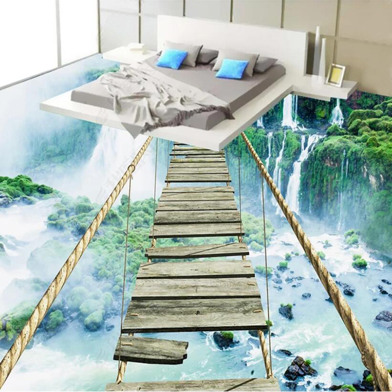Custom 3D Floor Mural Wallpaper Modern Landscape Waterfall Thrilling Rope Bridge Self Adhesive PVC Floor Sticker Bathroom Decor