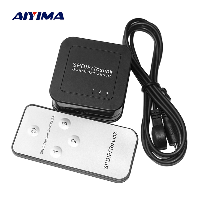 US $2 03 29% OFF|AIYIMA HD Digital Optical Audio Switch SPDIF TosLink  Switch 3X1 With IR Digital Audio Switcher Optical Audio splitter 3 In 1  Out-in
