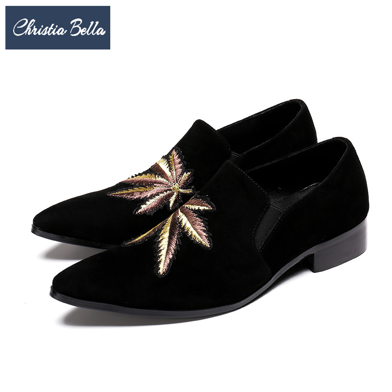 Christia Bella Plus Size Brand Embroidery Men Loafers Pointed Toe Business Wedding Dress Shoes Suede Leather Party Formal Shoes christia bella italian fashion business men dress shoes genuine leather pointed toe wedding formal shoes plus size office shoes