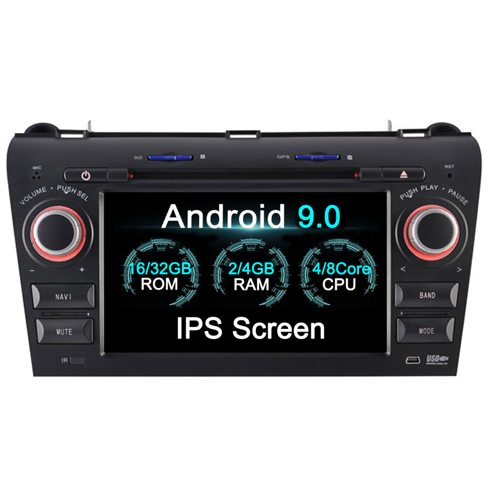 <font><b>2din</b></font> Android 9.0 4+32GB Car Multimedia DVD Player Radio head unit player For <font><b>Mazda</b></font> <font><b>3</b></font> 2003 04 05 06 07 08 2009 GPS Navigation image