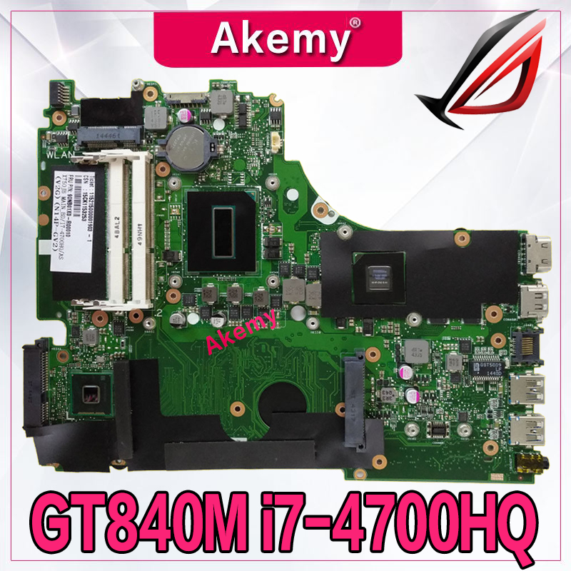 Akemy X750JN i7-4700HQ CPU GT840M 2GB Mainboard REV 2.0 For ASus X750J X750JN Laptop motherboard 90NB0660-R00020 100% tested