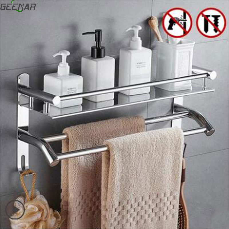 Free shipping Towel rack, 304 stainless steel, 2 layer bath towel rack, bathroom rack, bathroom shelf towel bar towel hook shelf