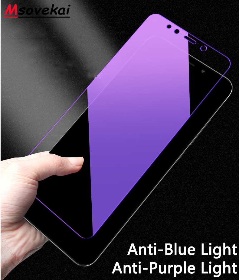 Anti Blue Purple Light Tempered Glass For Xiaomi Redmi Note 7 6 5 8 Pro 5 Plus Mi 9T Pro K20 Pro 6A 5A S2 Y2 Y3 Screen Protector