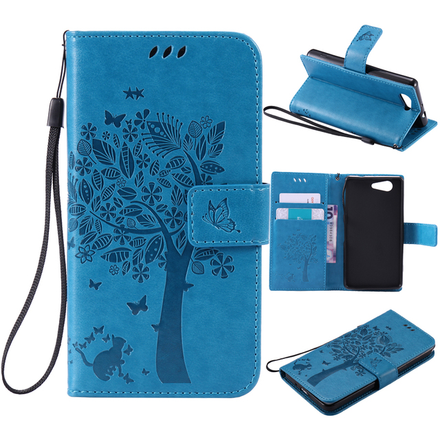 For coque Sony Xperia Z3 Mini case For Fundas Sony Z3 Compact Case Z3 Mini D5803 M55W phone cases Tree Cat Flip Cover Leather