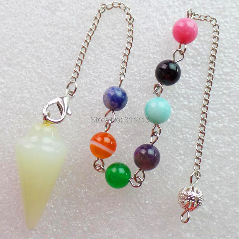(Min.order 10$ mix)Wholesale 1 piese New Stone 32X15MM Pendulum With 7pcs Mixed 8mm bead ...