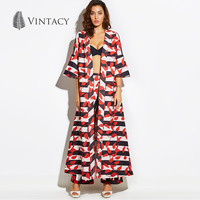 Vintacy Fall 2018 Fashion Blouse Big Size Flare Sleeve Red Black Stripe Women Long Kimono Cardigan Shirts Ladies Print Blouse