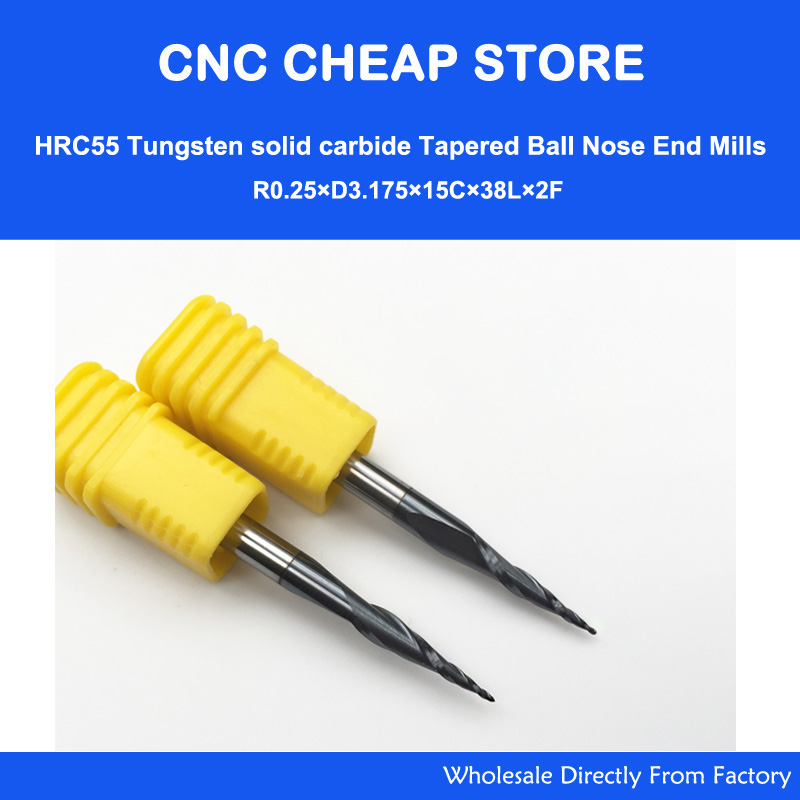 2pcs R0.25/R0.5/R0.75/R1 HRC55 Taper Ball Nose End Mill Tapered Cone Milling Cutter CNC Woodworking Router Bit 3.175mm 1/8
