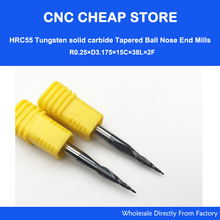 цена на 2pcs R0.25/R0.5/R0.75/R1 HRC55 Taper Ball Nose End Mill Tapered cone milling cutter CNC woodworking router bit 3.175mm 1/8 SHK