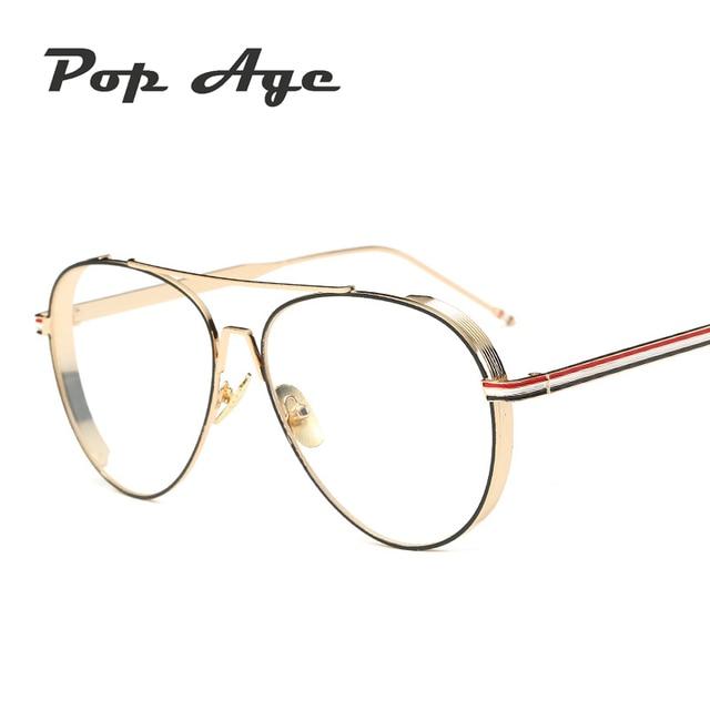 8d1848a9b2003 Pop Age Sexy Round Clear lens glasses Women Brand Designer Fashion Metal  frames Eyeglasses Vintage Plain glasses Oculos