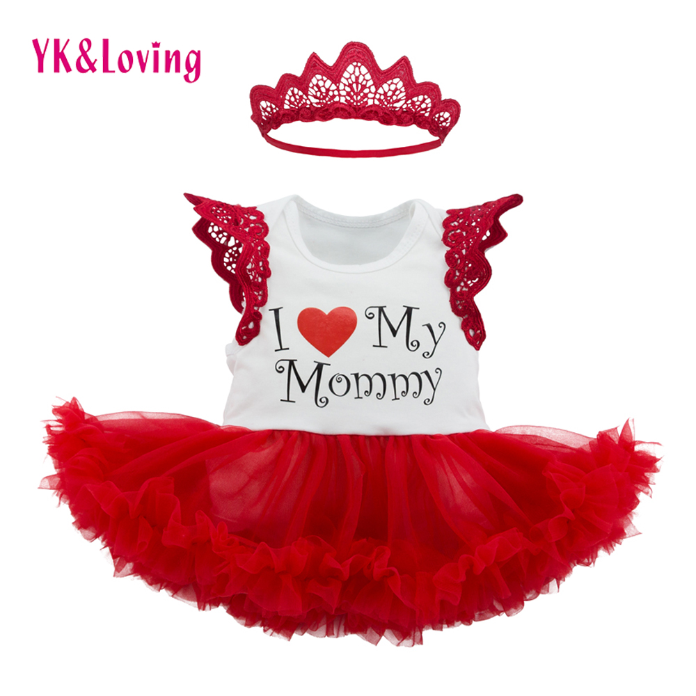 Boutique Baby Clothes for Girls as Mother's Day Gift Sleeveless Red Dress for Infant Girl Newest Style 2017 Spring Mesh Dresses