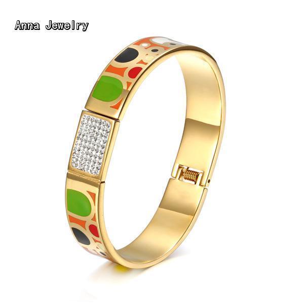 2016 Elegant Designer Eenamel Bracelet,Yellow Gold Plated metal With Dazzling Zircons.Beautiful Fashion Cuff Bracelet Bangle