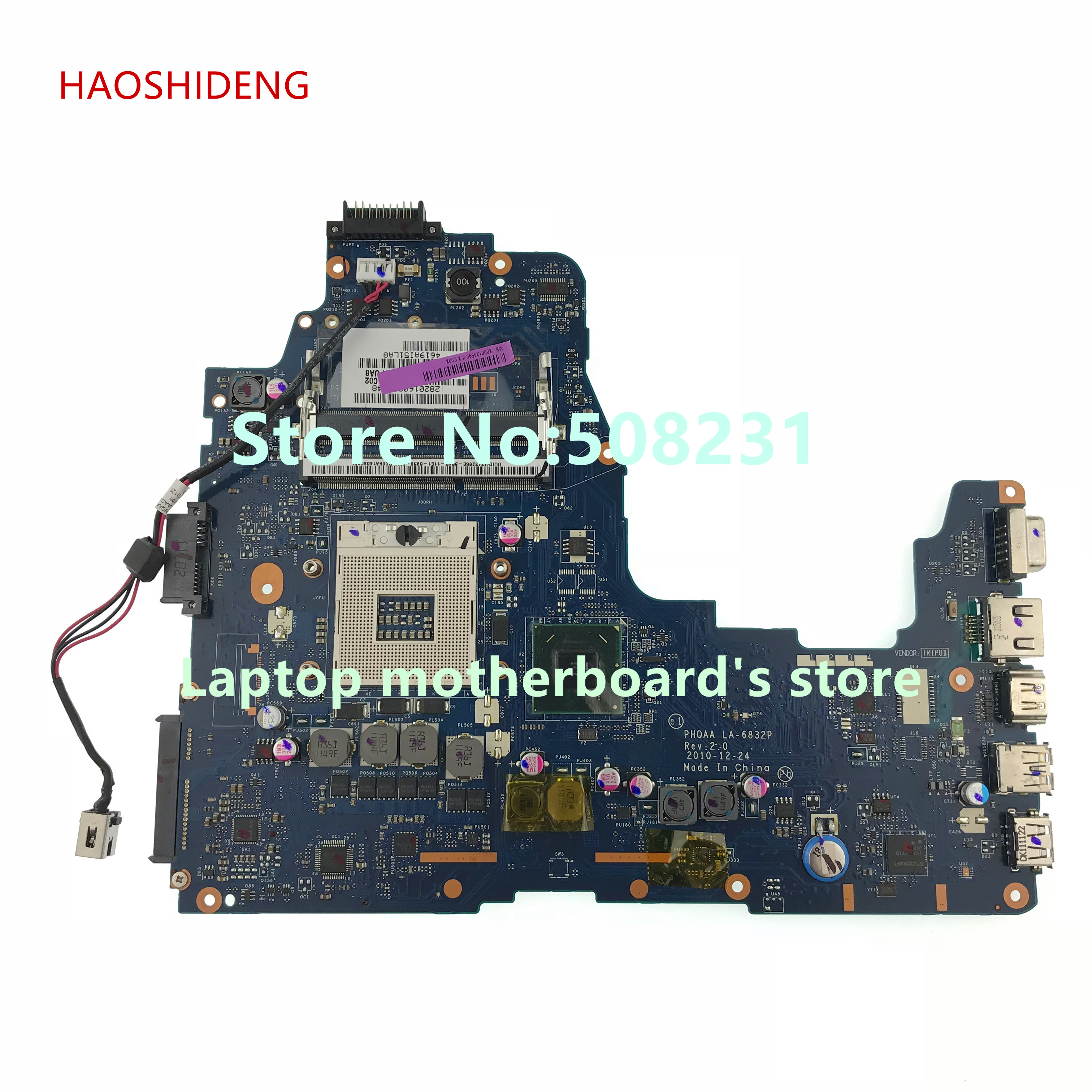 HAOSHIDENG K000128590 LA-6832P Mainrboard For Toshiba satellite P750 P755 A665 A660 laptop motherboard fully Tested k000104250 motherboard for toshiba satellite a660 a665 la 6061p nwqaa tested good