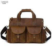 Luxury Brand Mens Crazy Horse Leather Briefcase Vintage Style Messenger Shoulder Brief Case Handmade Laptop Bag