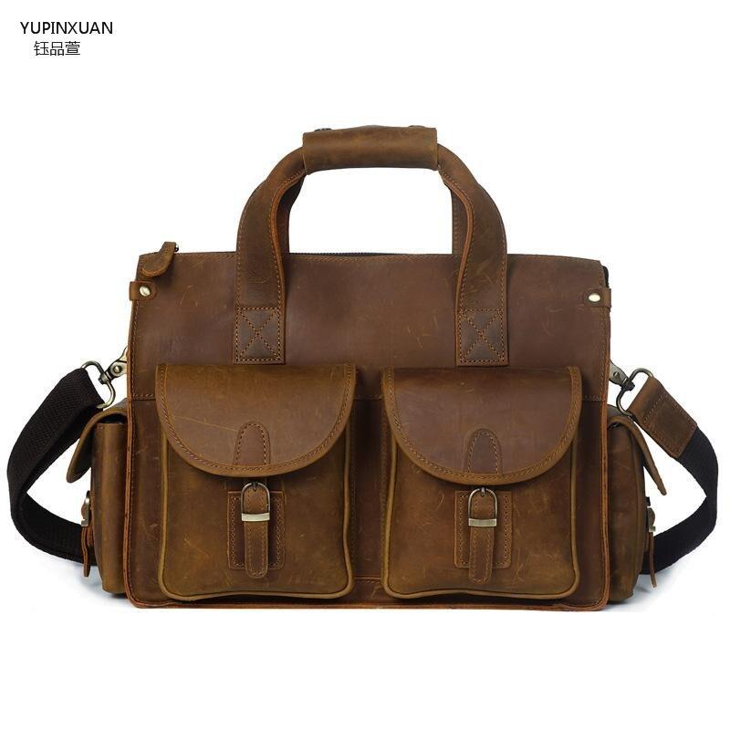 YUPINXUAN Mens Crazy Horse Leather Briefcase Vintage Style Messenger Shoulder Brief Case Handmade Laptop Bag Case Office Bag