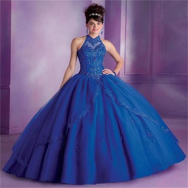 Dulce 16 de La Princesa Azul Real Vestidos de Quinceañera Vestidos de Bola Cuello Alto Crystal Champagne Vestidos de Quinceañera para Sweet 15 Años